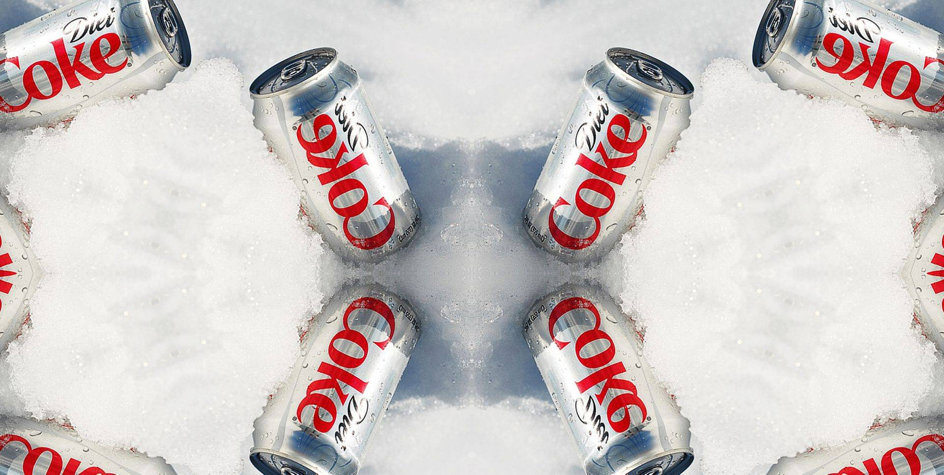Diet coke cans in ice