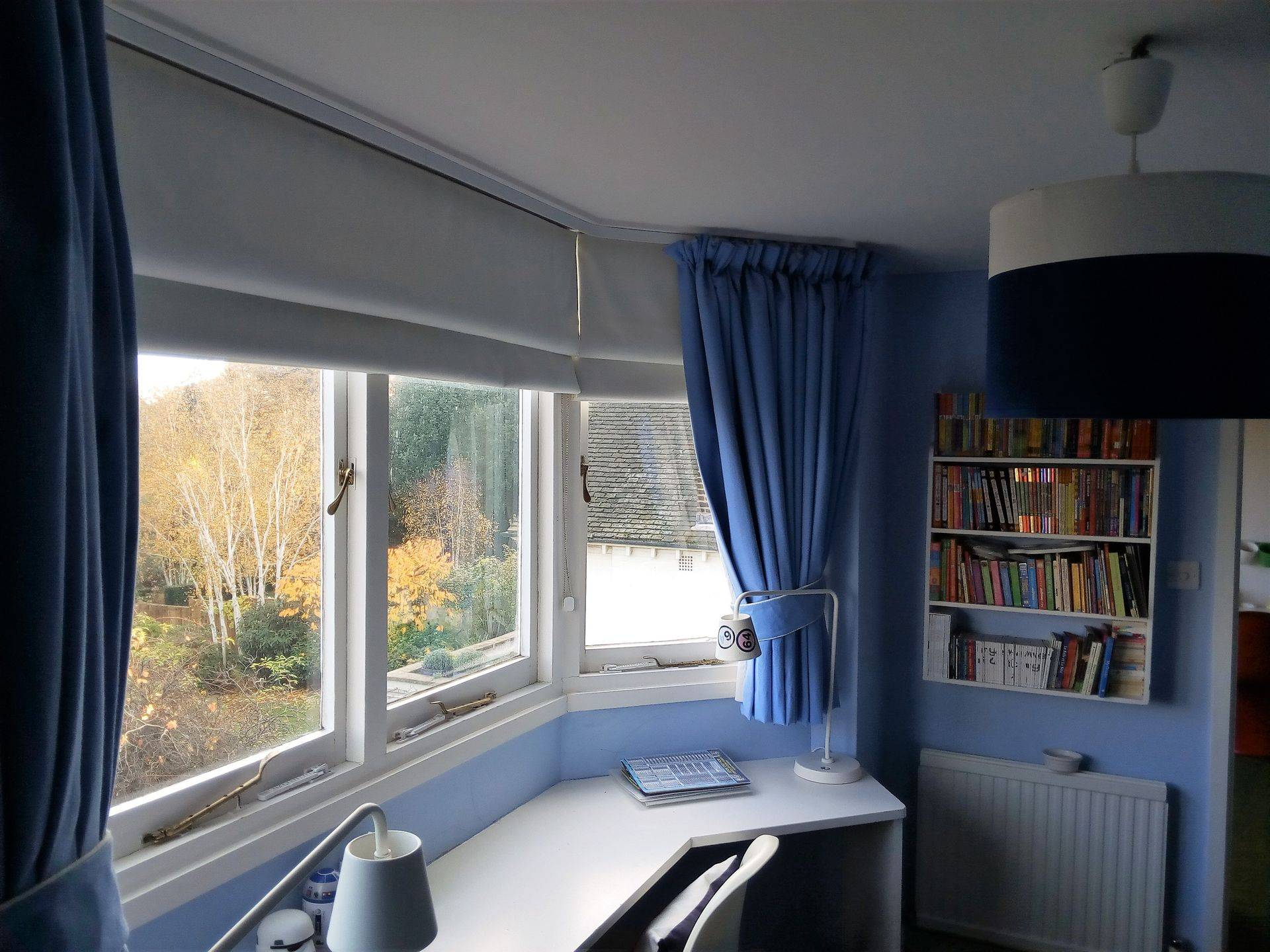 Blue curtains with contrast Roman Blinds, blackout lining