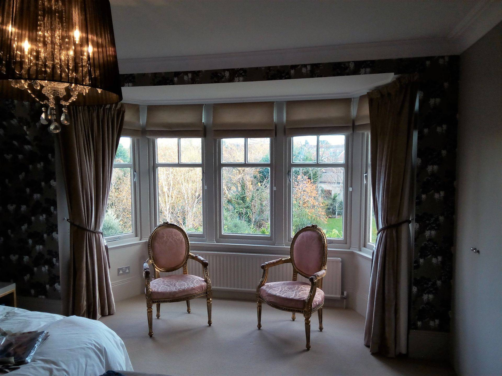 Velvet curtains with contrast Roman Blinds