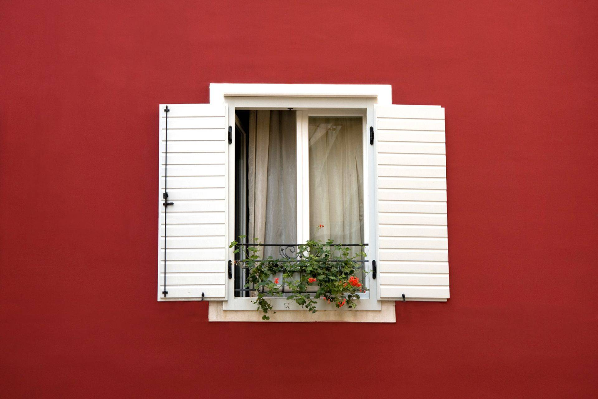 A new window set with red paint