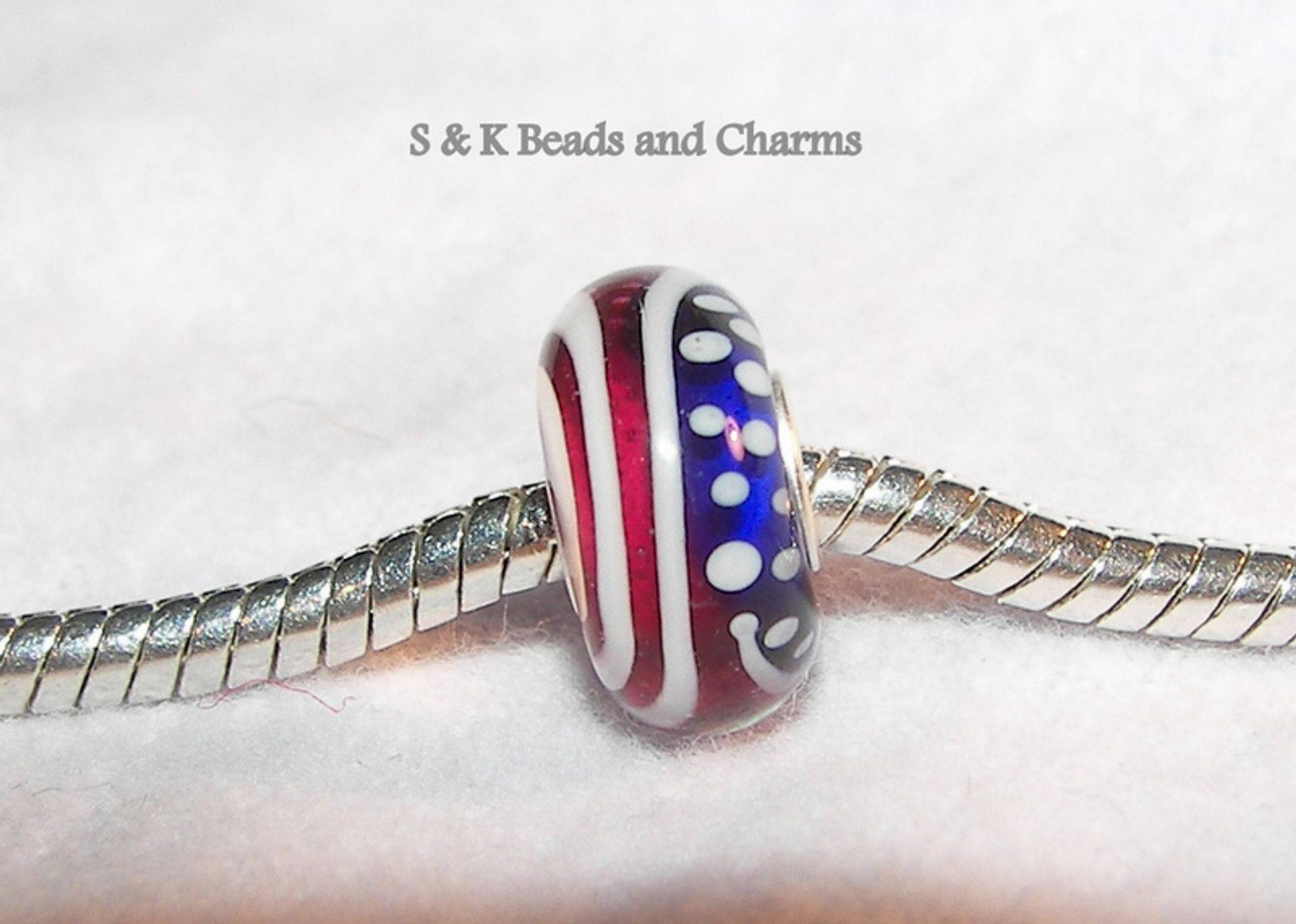 USA flag glass bead, to fit snake chain, or pandora  from S&K beads and Charms
