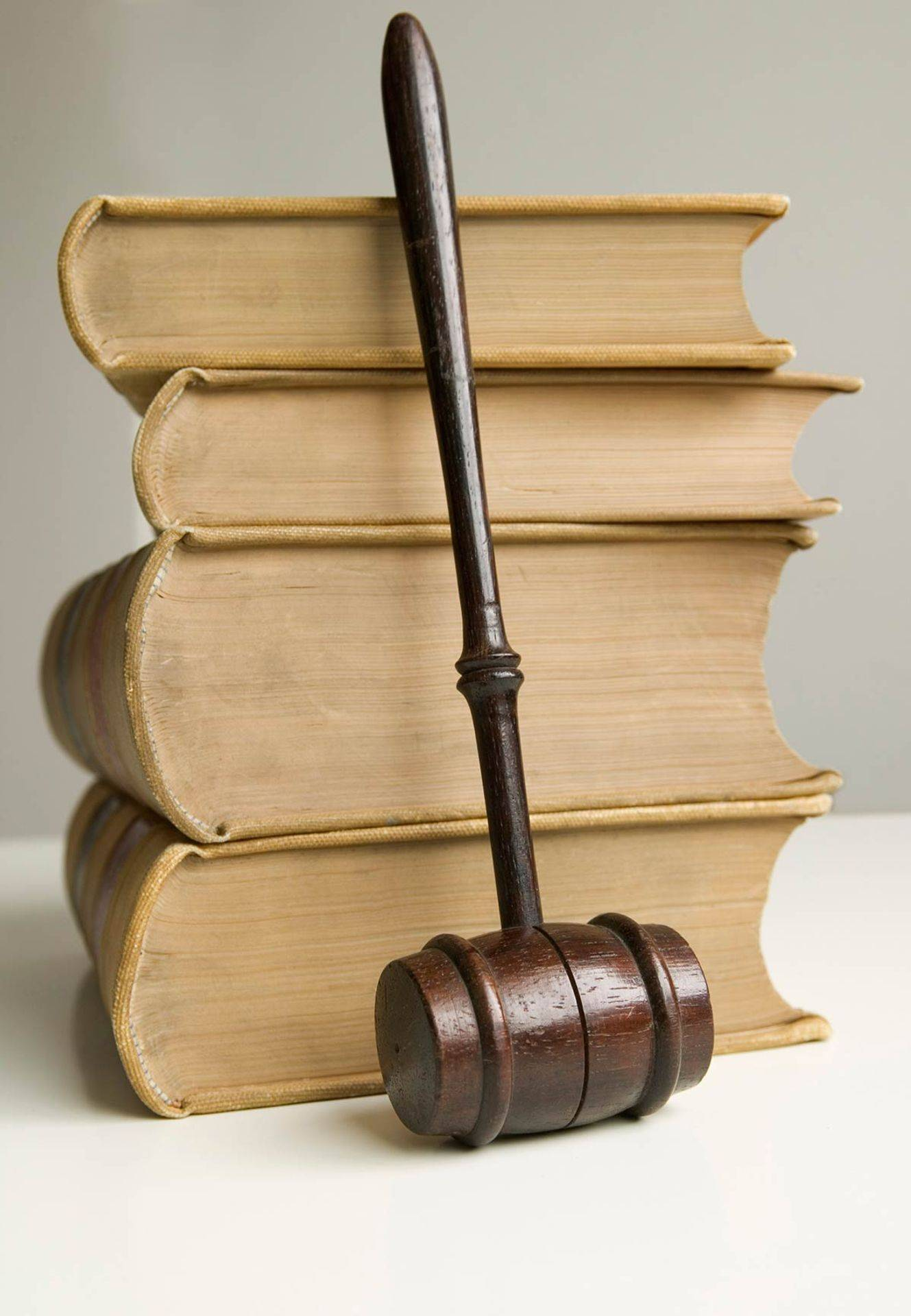 Legal books and judges gavel