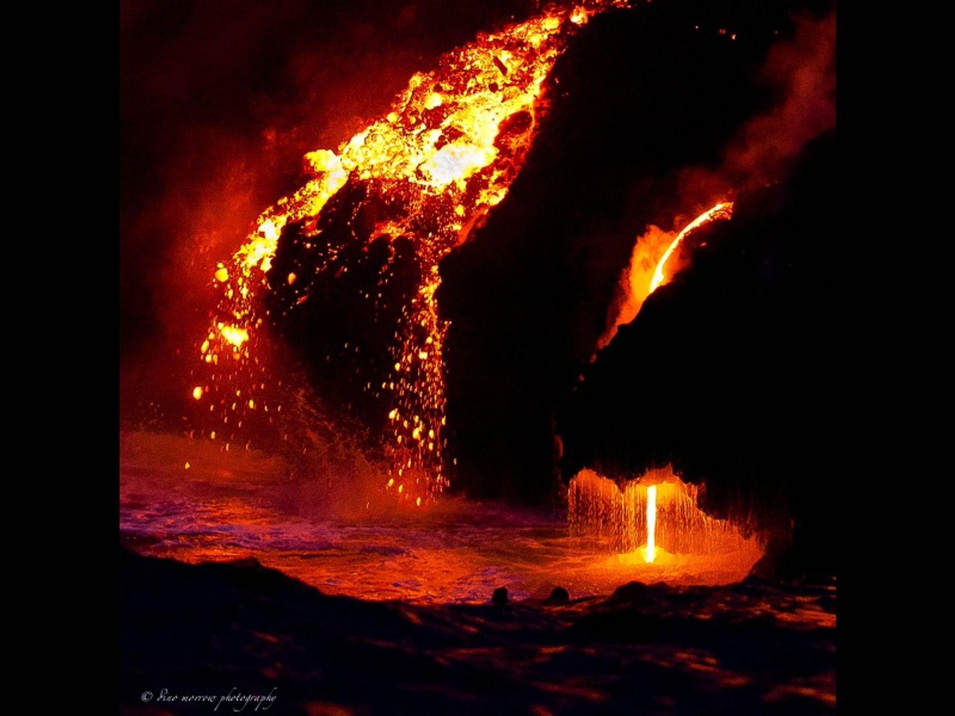 Lava pouring into the ocean from Kileaua