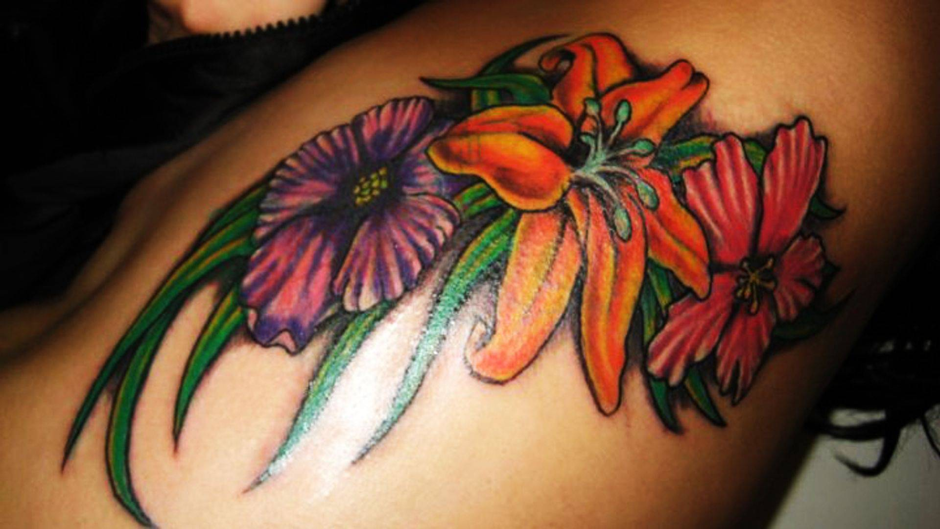 Flowers cover up tattoo