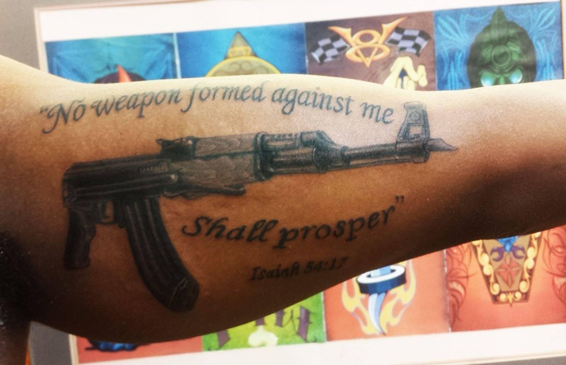 AK 47 Gun tattoo