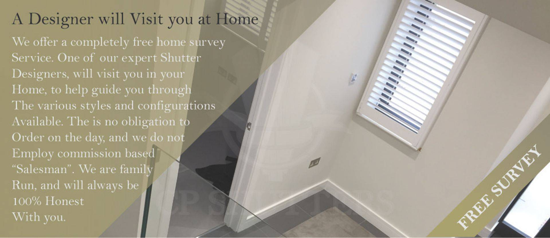 Free survey for custom plantation wooden, interior, window shutters from CP Shutters