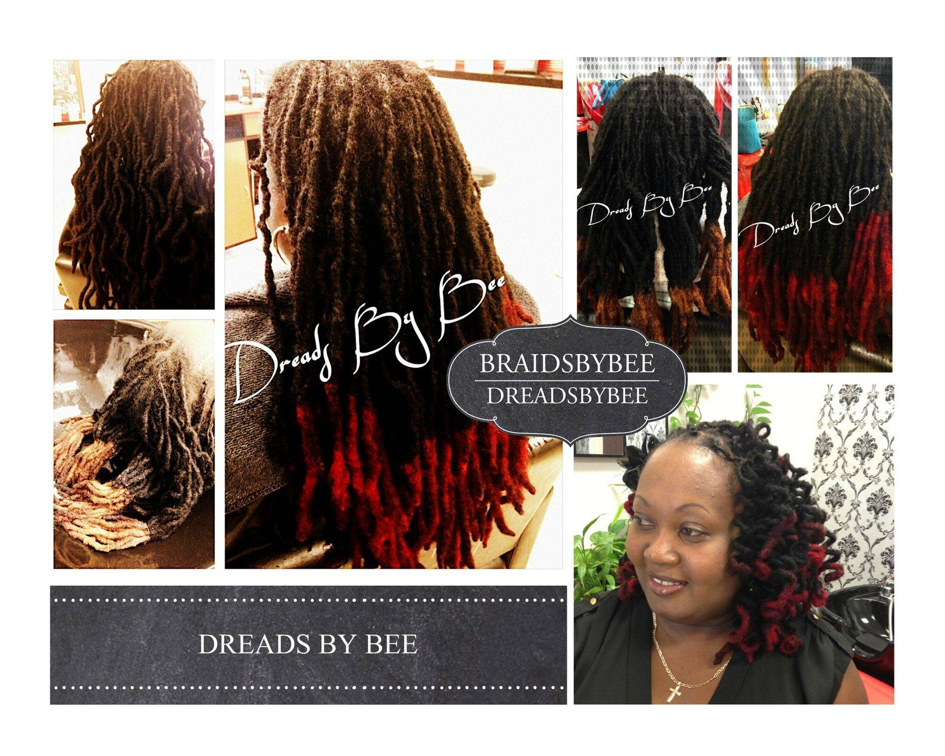 Natural Dreads maintained by Bee and colored and styled.