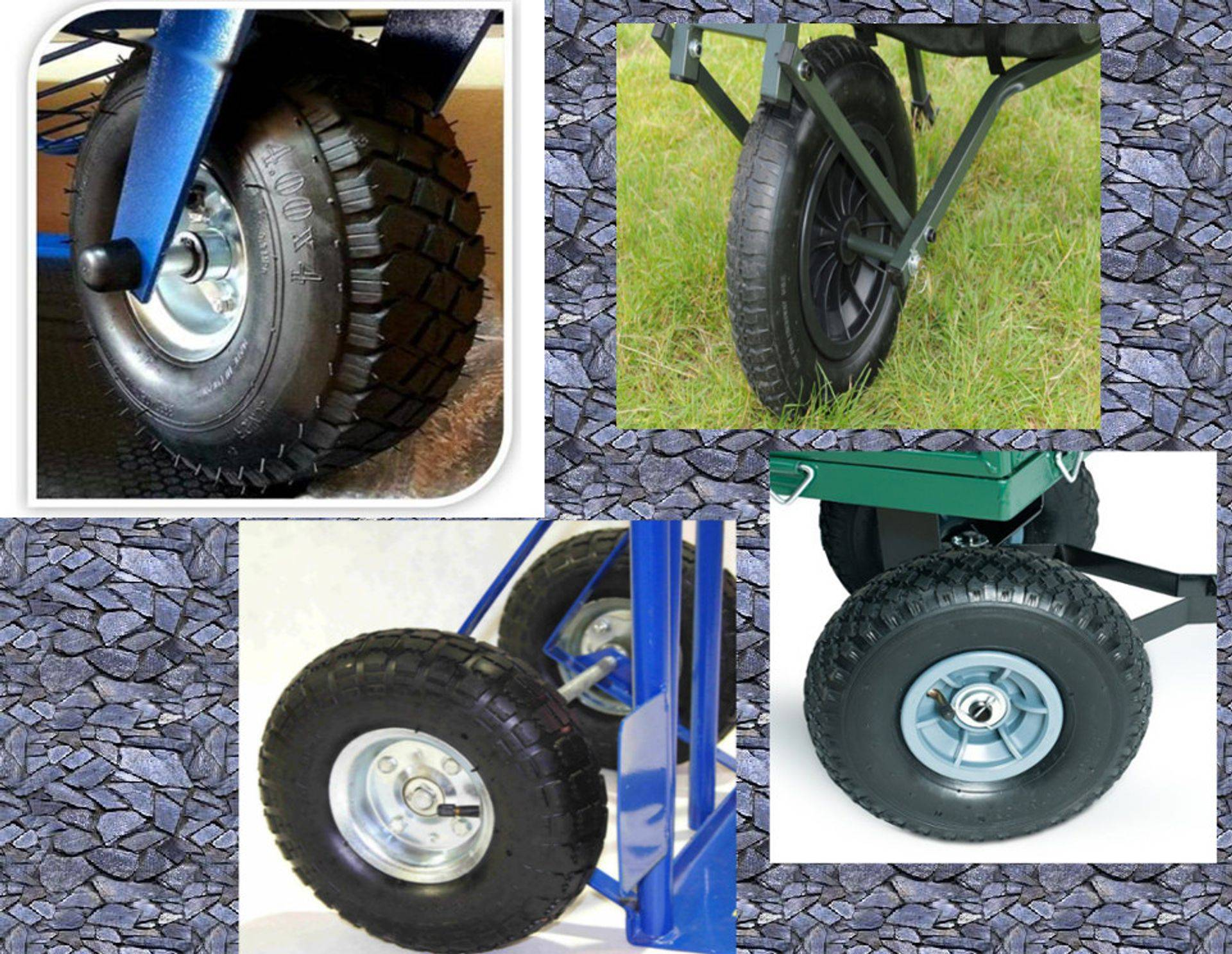 Wheels and tyres for industrial trolleys