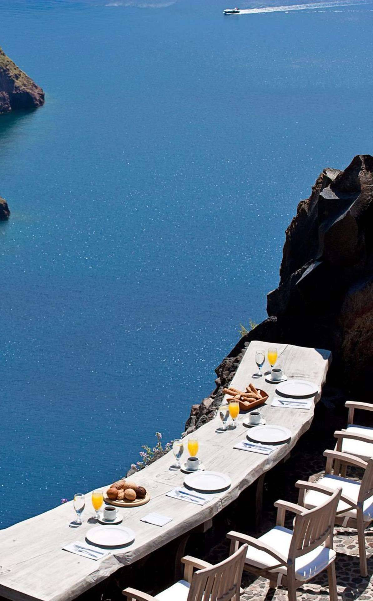 breathtaking Santorini view , a mood hack not to loose