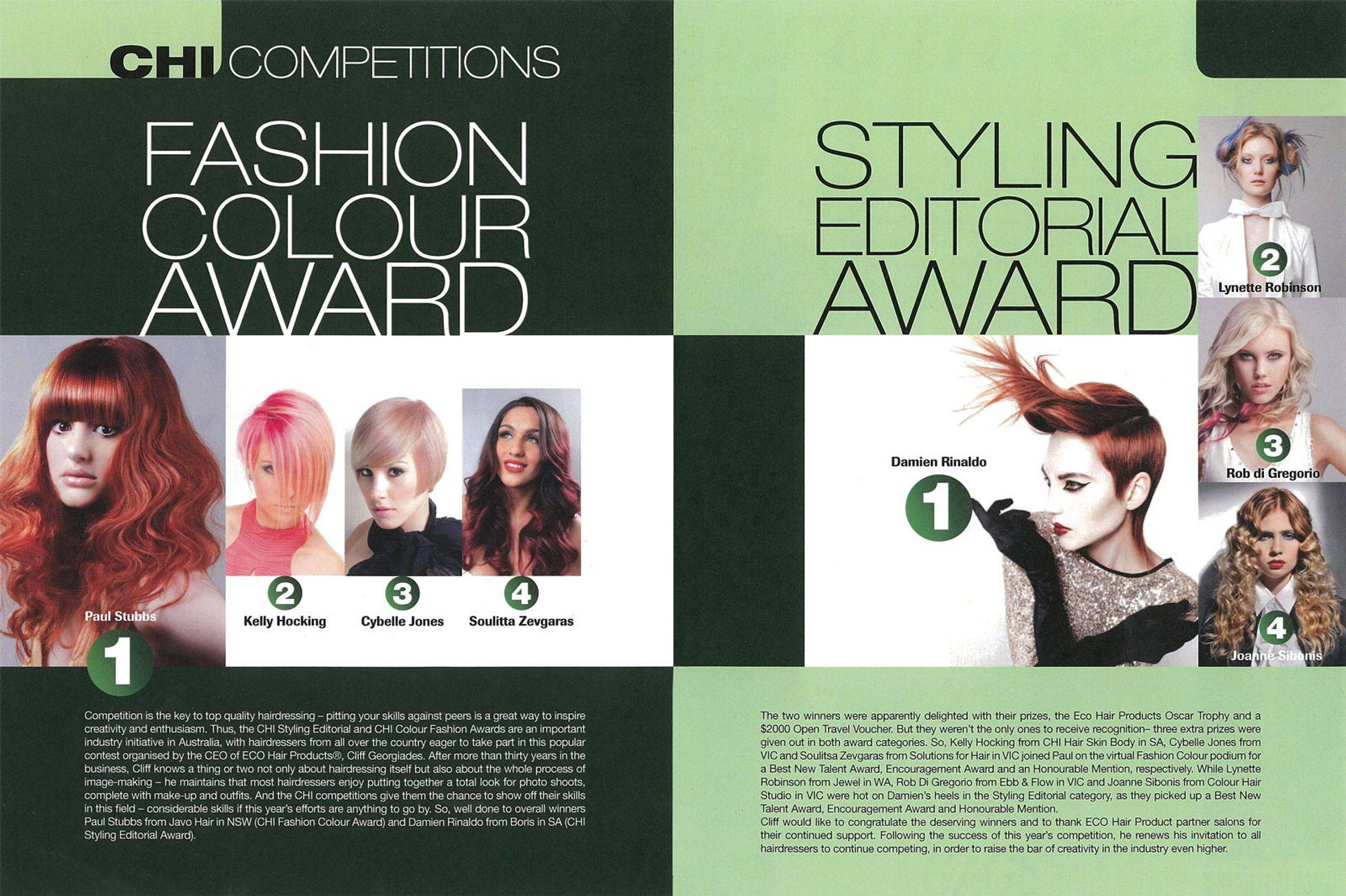 Hairdressing competition winners