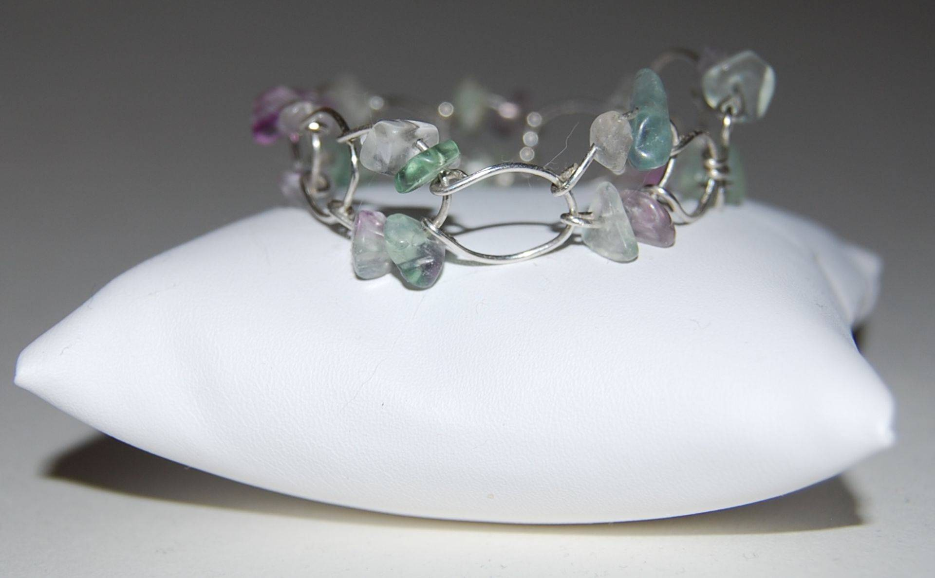 Sterling Silver Horseshoe Bracelet with Flourite