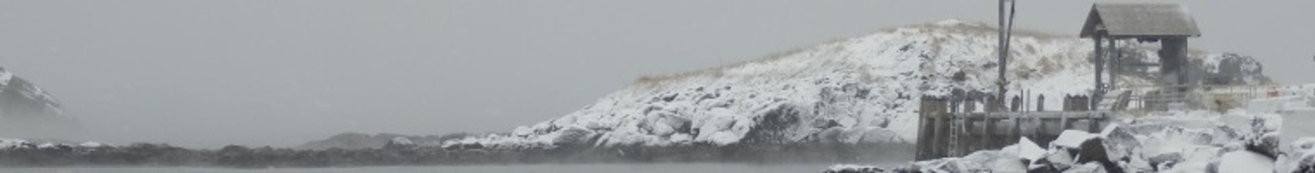 Monhegan Wharf in Winter