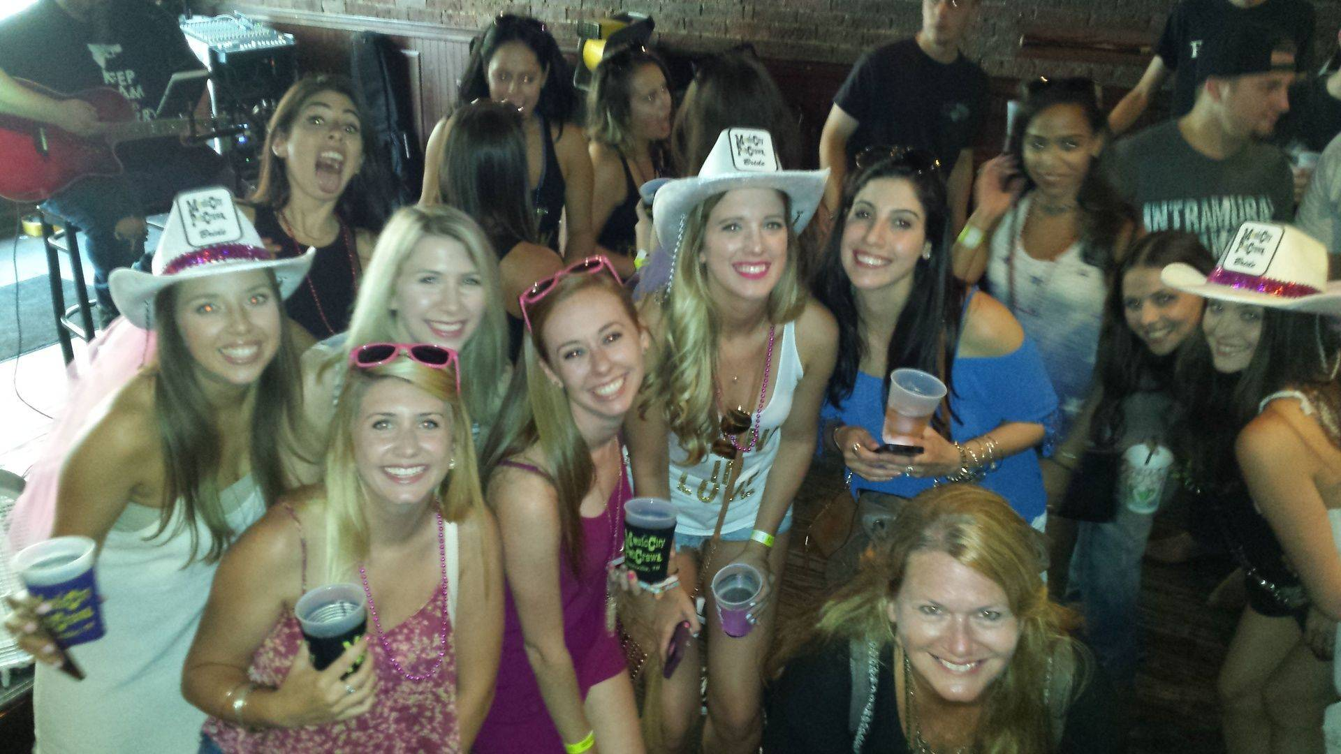 two bachelorette groups in Printers Alley