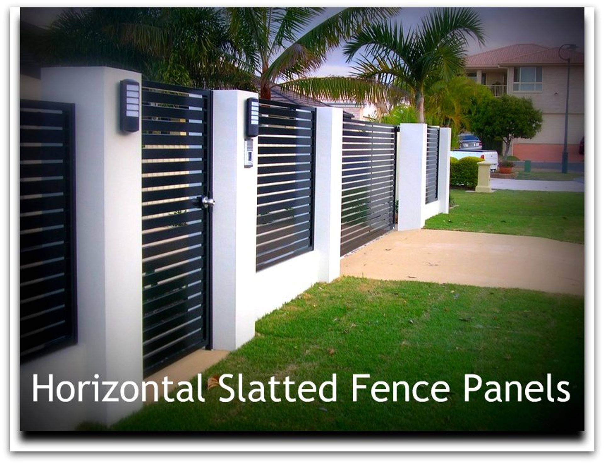 Horizontal slatted fence panels and gates