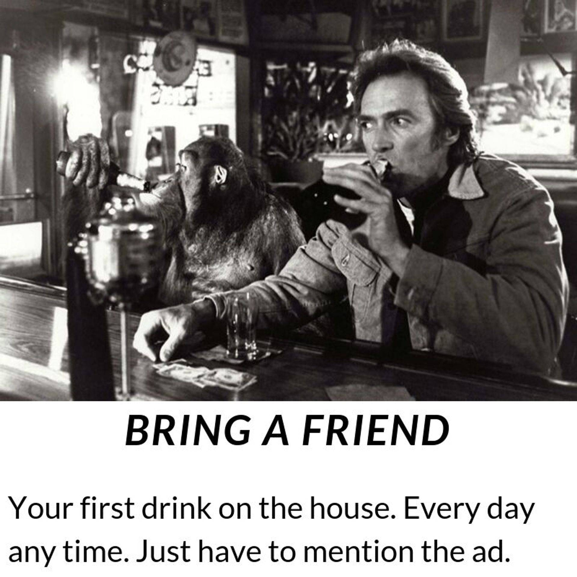 Bring a friend and get your first drink on us