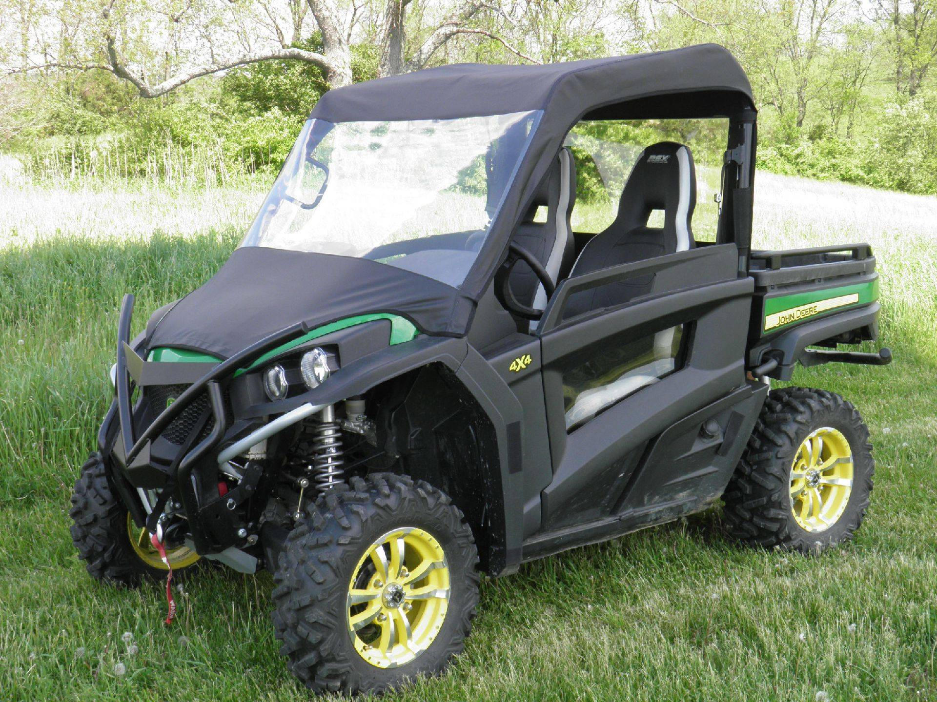 John Deere Gator 850i Summer Cab with a Vinyl Windshield