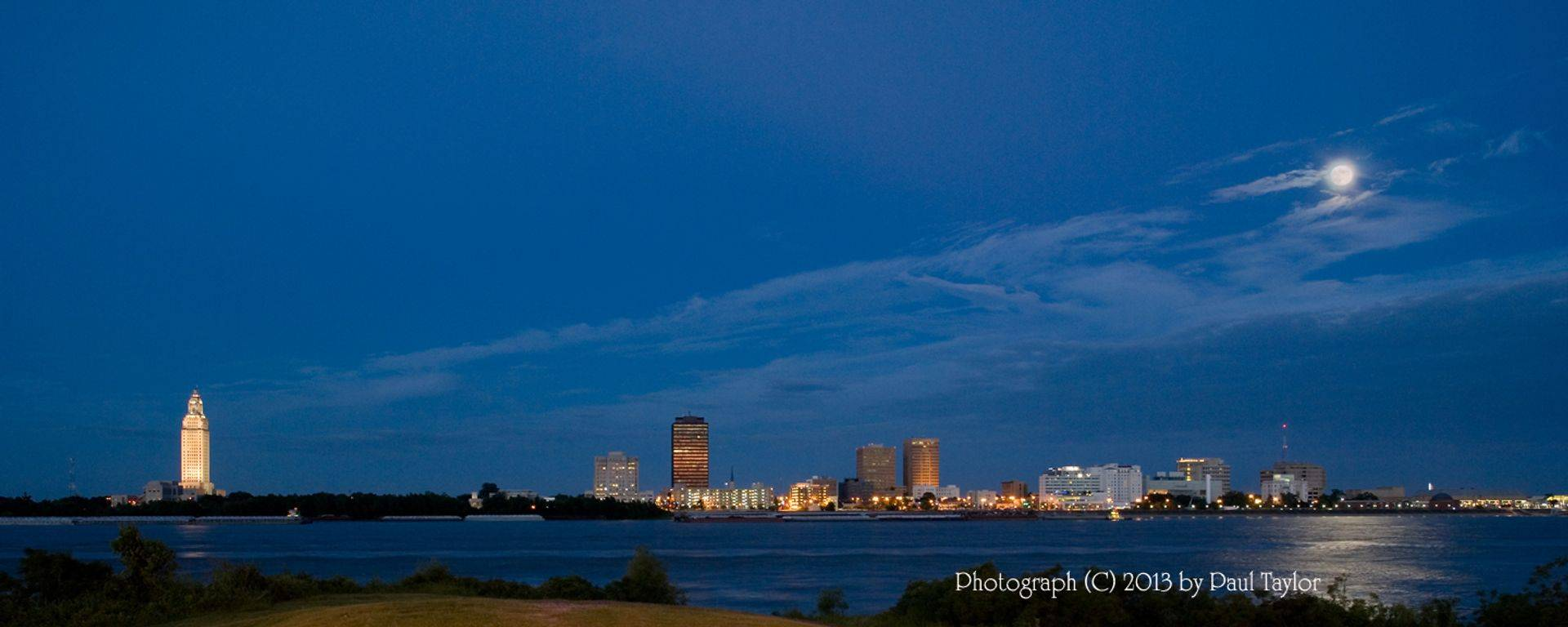 Panorama of Baton Rouge Skyline at Moonrise