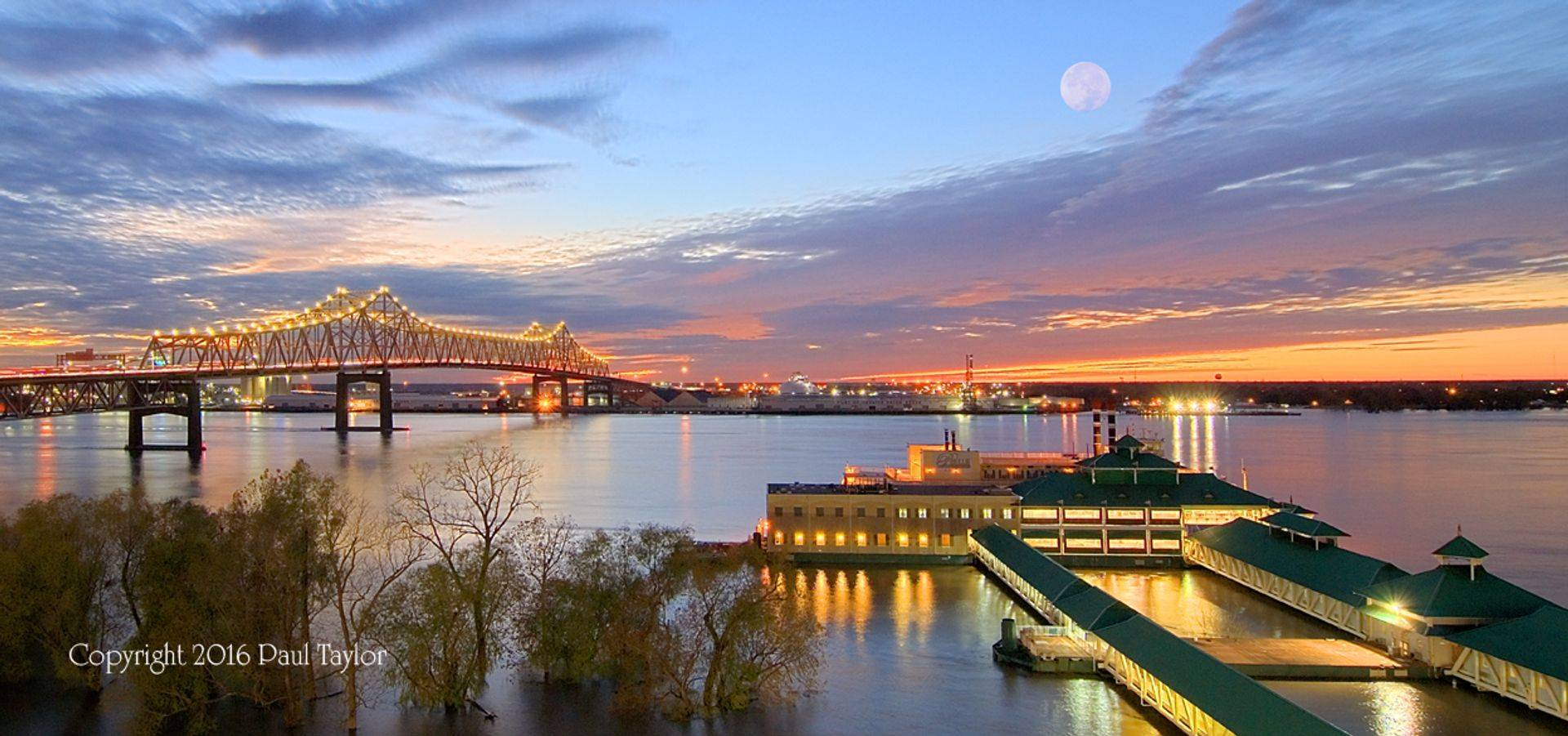 Belle of Baton Rouge Casino, Mississippi River Bridge at sunset