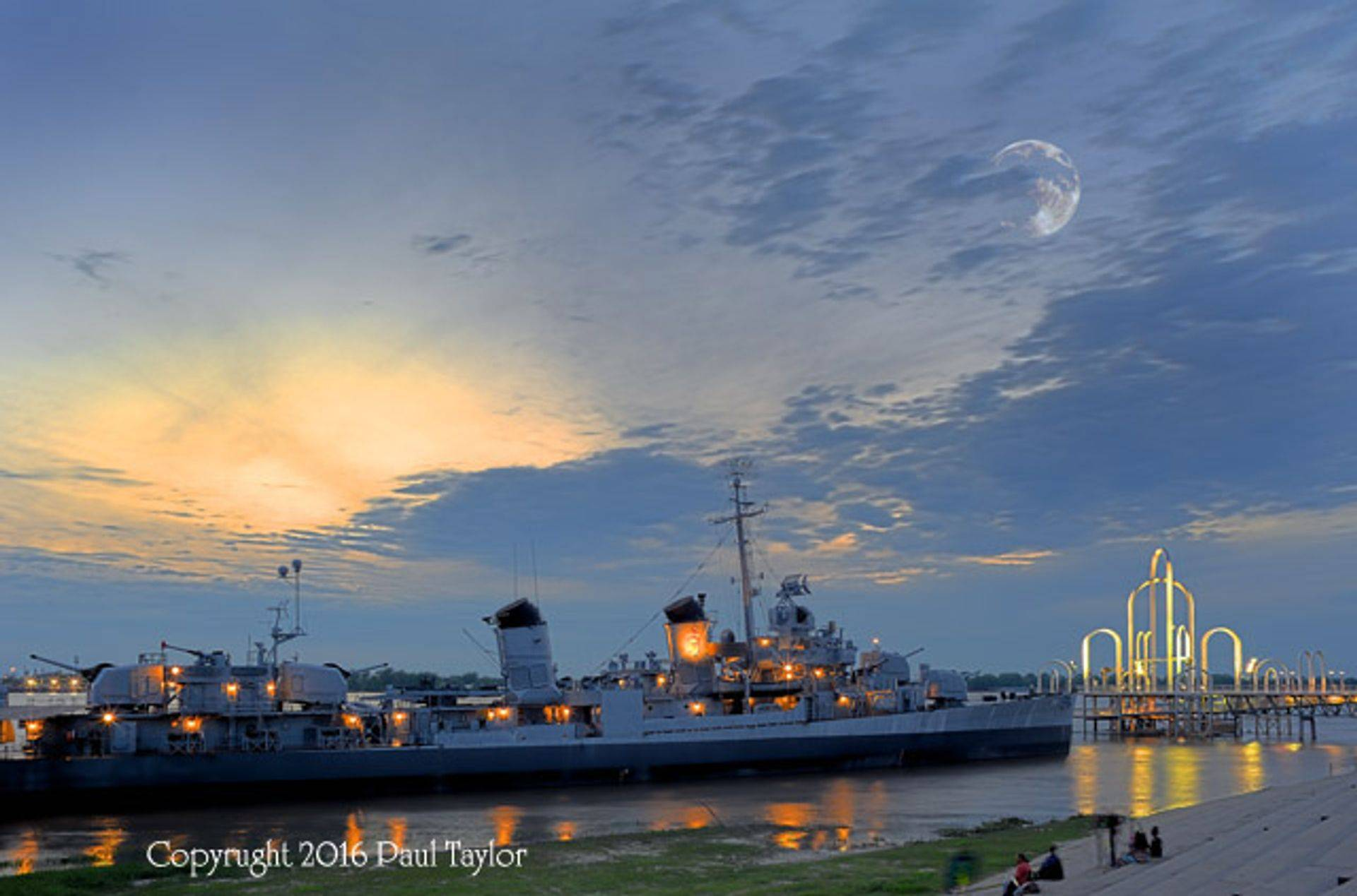 USS Kidd Destroyer, Baton Rouge, dusk with moon in clouds