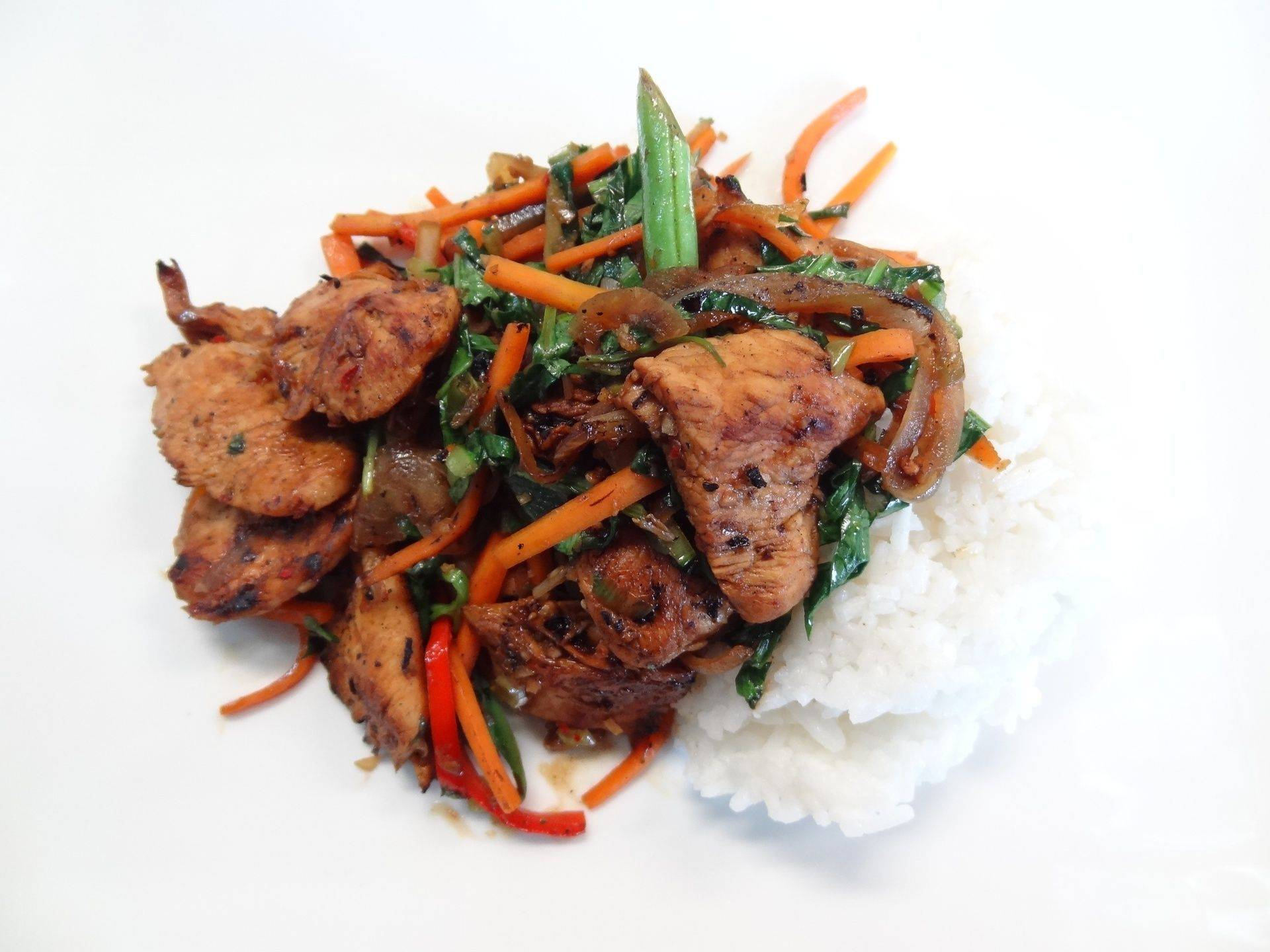 Chilli chicken with coconut rice
