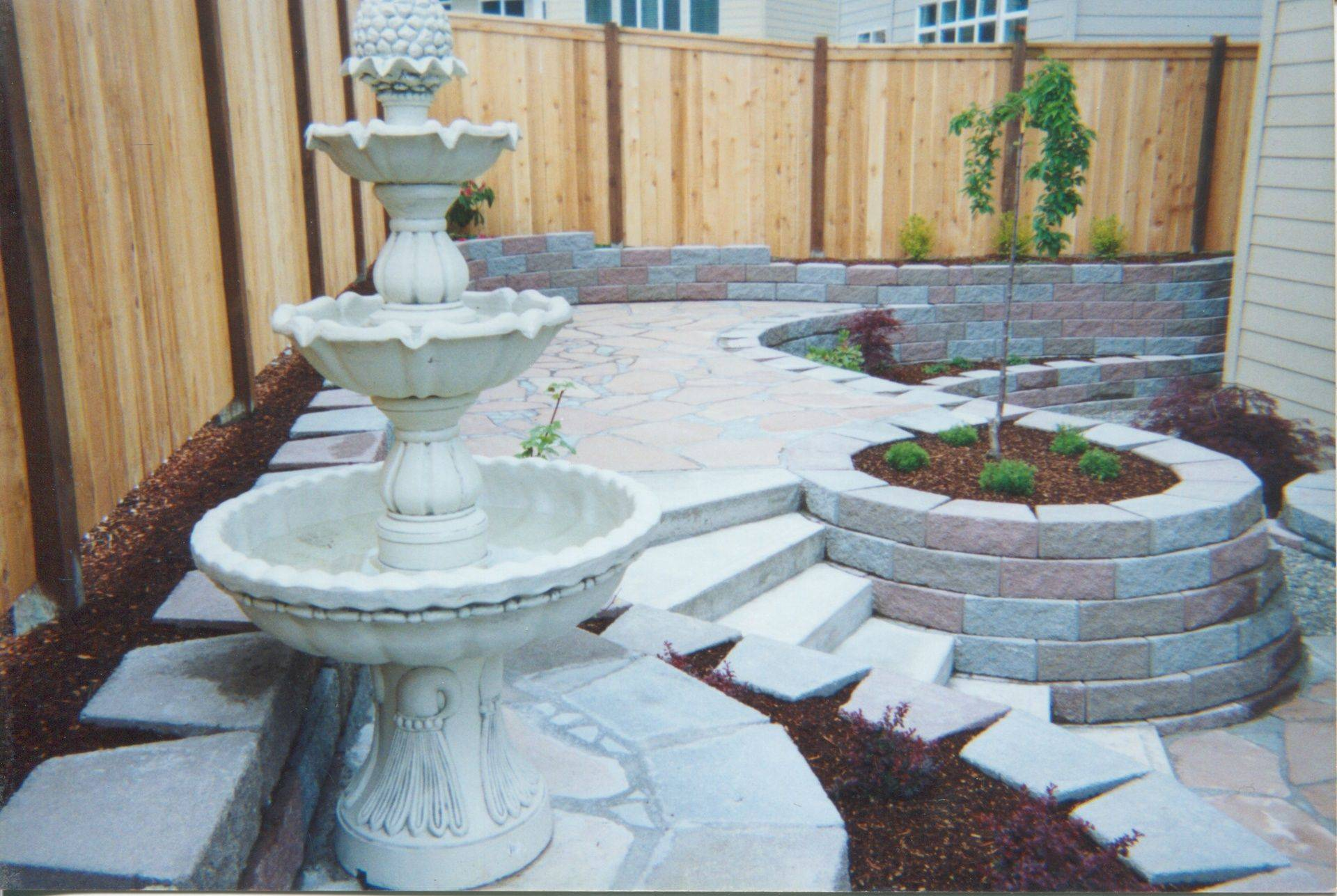 brick garden wall with carved mortar design in granite falls