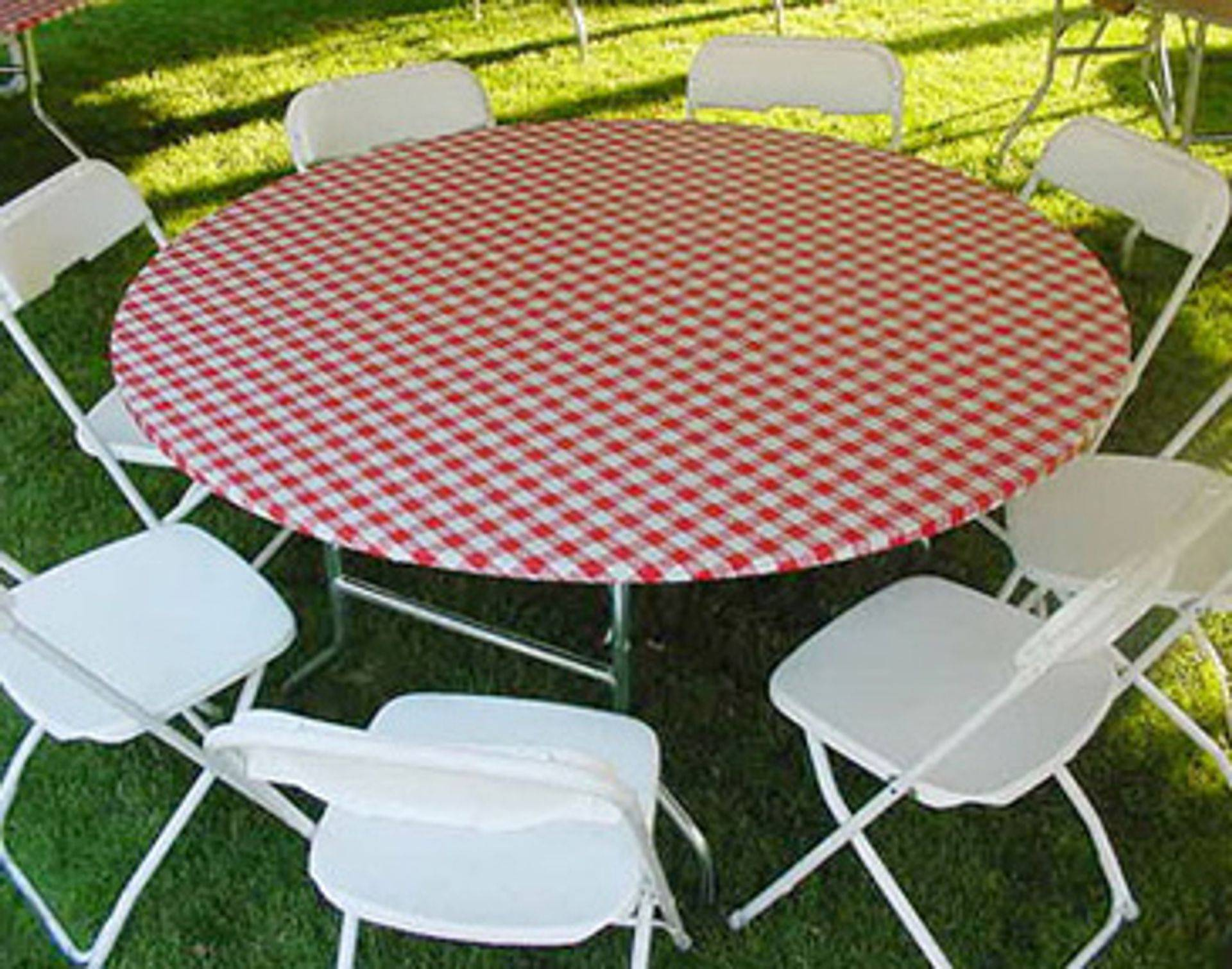 Patterned 60'' Round Plastic Elastic Table Cover