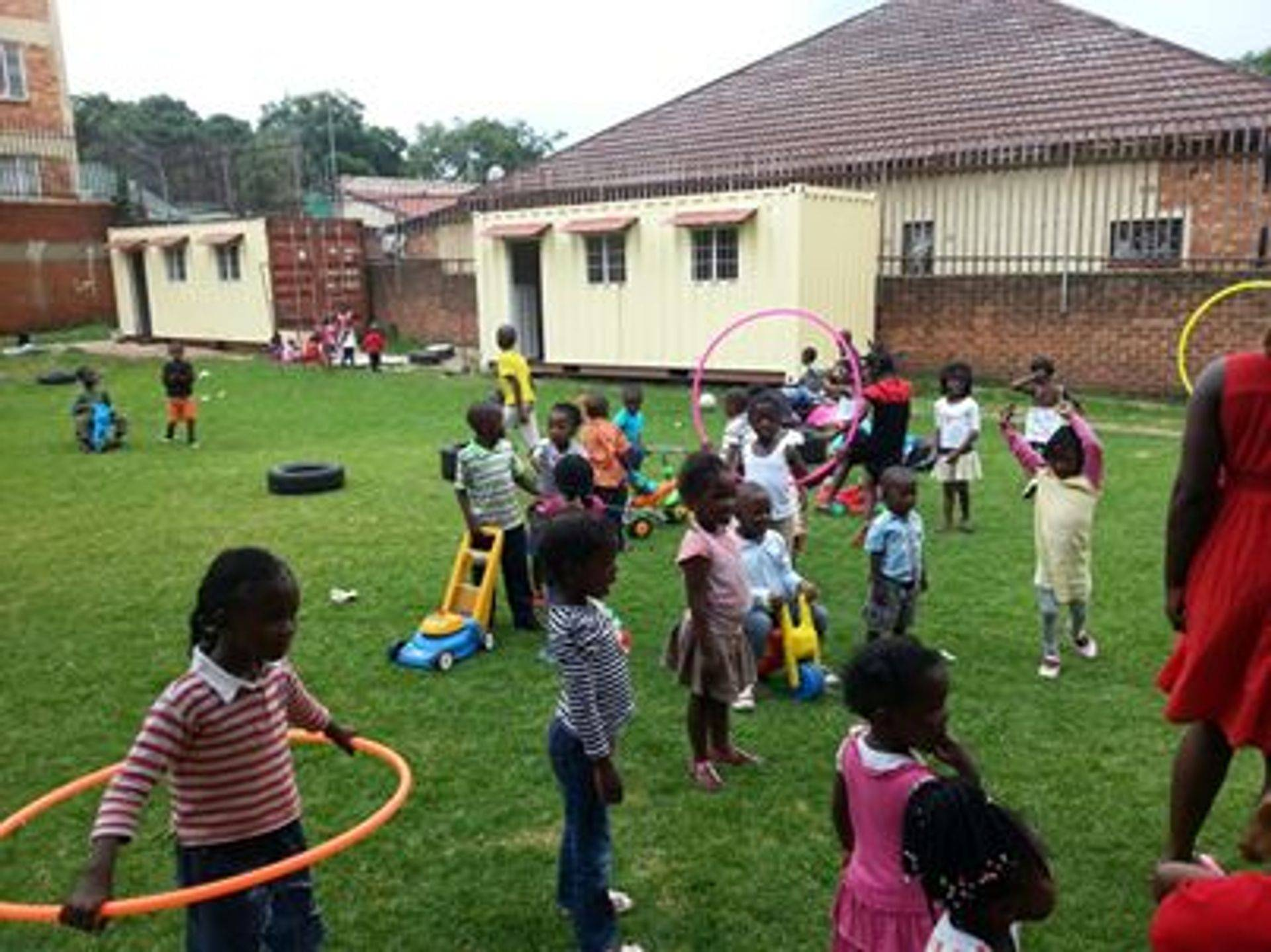 Children playing outside ECD Centre