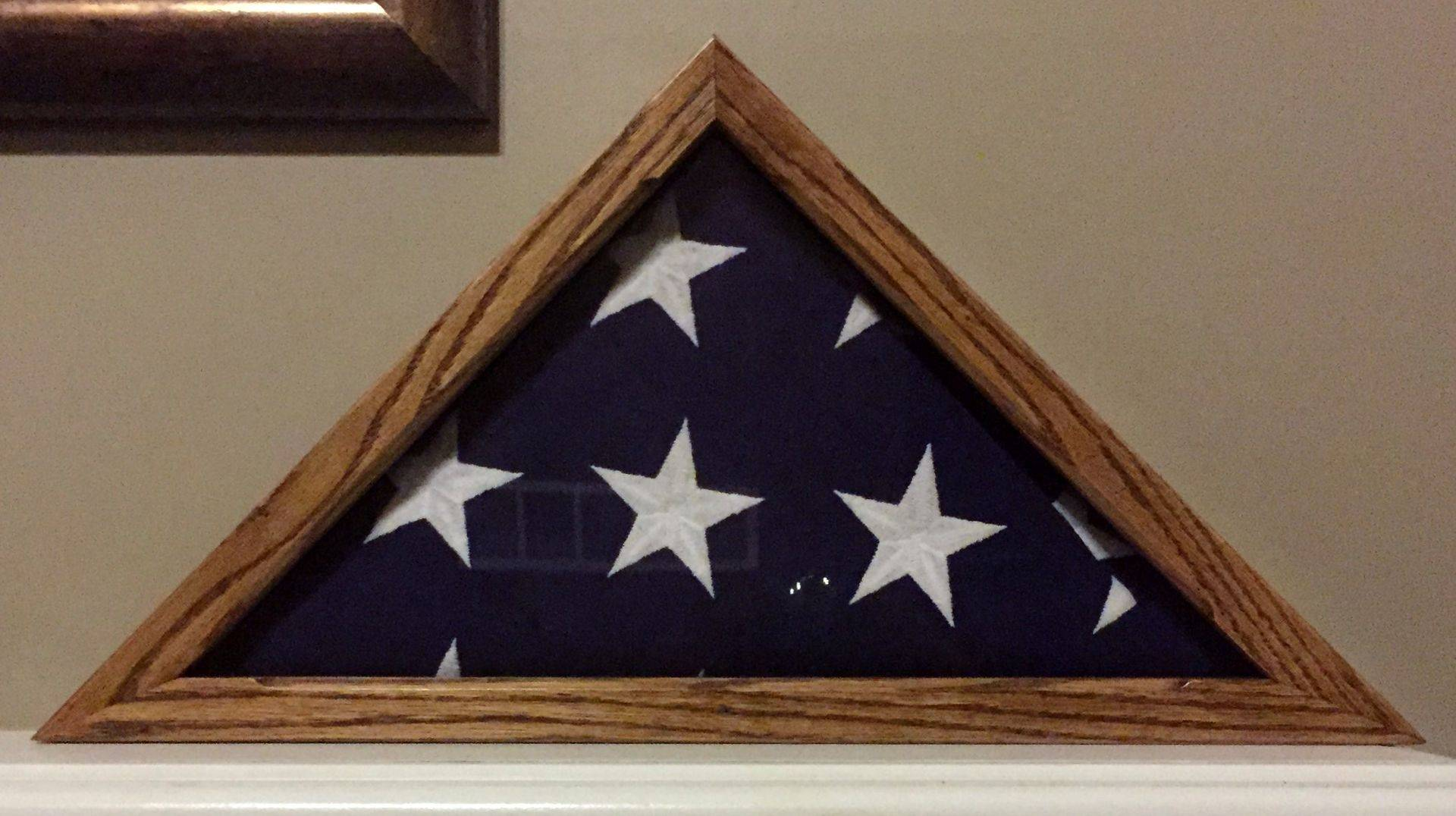 Solid Oak Burial Flag Case