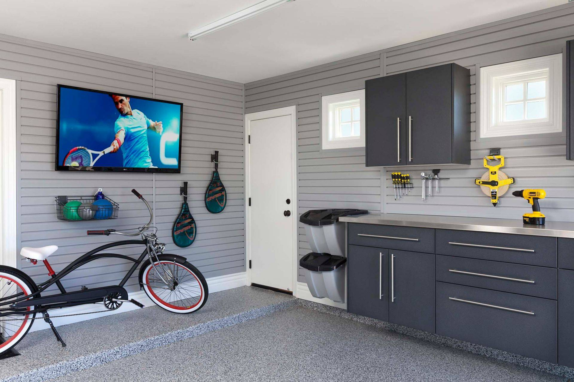 Custom Garage cabinets gray