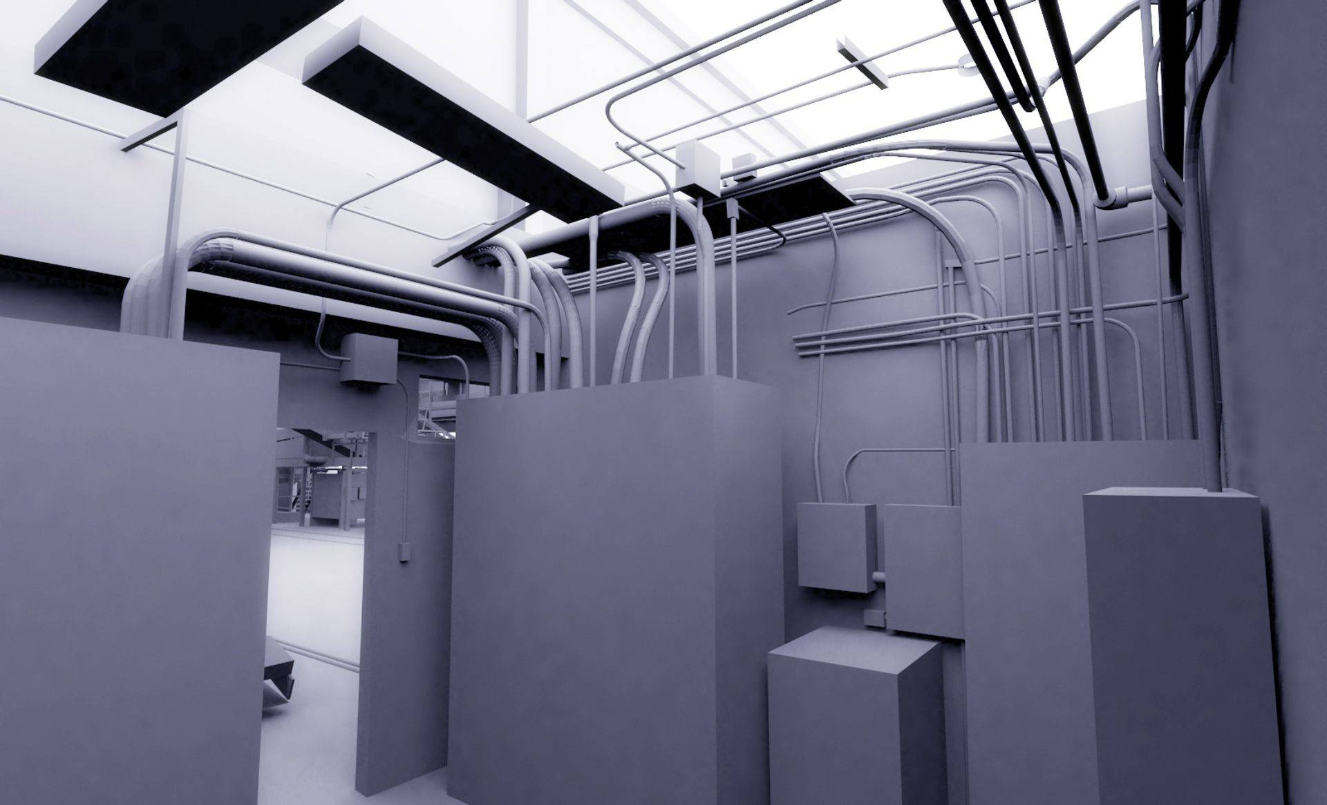 Electrical room 3D rendering from 3D scanner