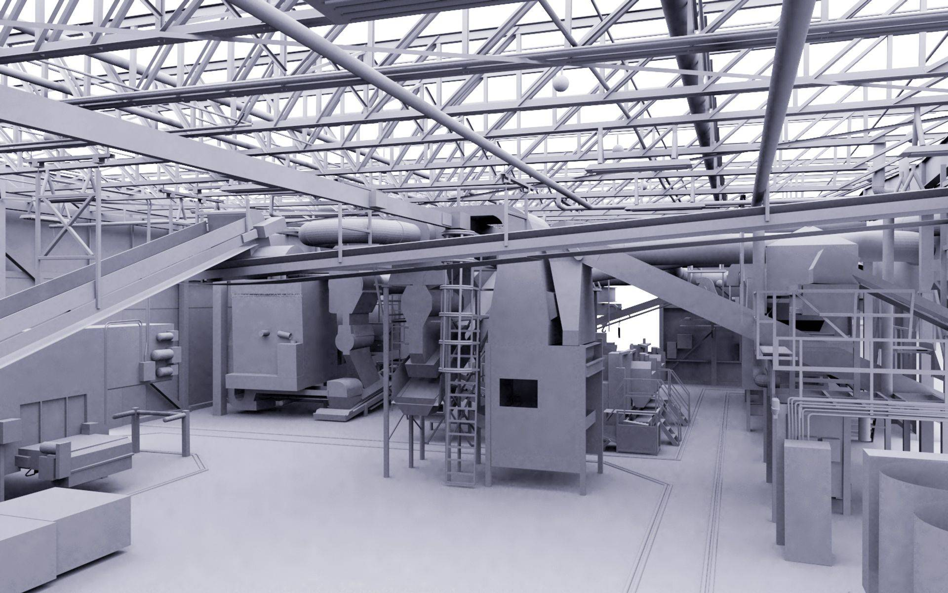 Main Manufacturing Plant 3D rendering from 3D scanner