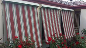 canvas awnings -red  and white strips