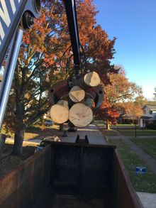Picking up logs with the new log truck near Wilmington DE.