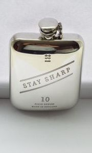 10 oz stamped pewter flask with captive top and Logo