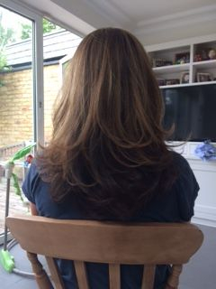 Highlights on dark hair with a cut and vlow dry