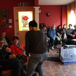 Audience for the beautiful film Las Acacias screening, at Cafe Moroc, Chatham Photo by Julie Treadgold