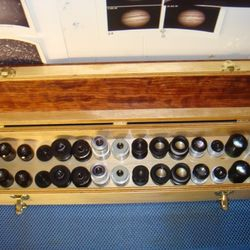This long skinny case is used to contain a collection of 15 sets of eyepieces for binoviewing.  Nice.