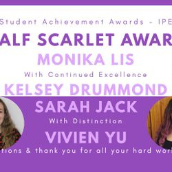 Virtual Society Awards Ball 2020 - Committee members awarded Half Scarlets, HS with Continued Excellence and HS with Distinction!