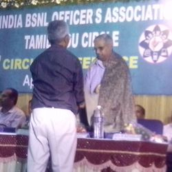 Our District President Com.M.Ponnusamy,DGM(Retd) honouring Shri.A.SHAJAHAN, PGM COIMBATORE