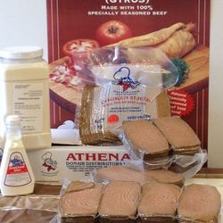 Products shown:  - Cooked Sliced Donair Loaves (also available in Halal)  - Athena Donair Sweet Sauce