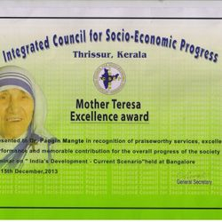 DR.P.MANGTE MOTHER TERESA EXCELLENCE AWARD CERTIFICATE