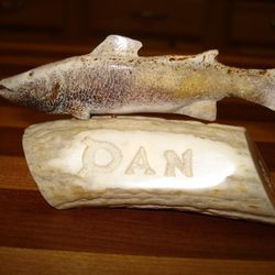 Carved nameplate - removeable carved fish
