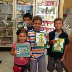 Our winners of the coloring contes all received a free book and icecream cone.