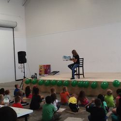 Reading Crocky Dile for Arts class at GK Music and Fine Arts Academy...