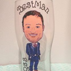Caricature Pint Glass from your photos