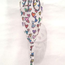 Champagne Flute - Ditsy Heart design