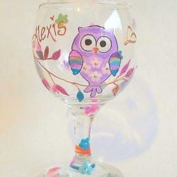 250ml small wine glass - cute owl design