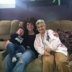 Anna Butchelle on the right. Wife of Patsy Jr. Butchelle. Katie Butchelli Workley and son