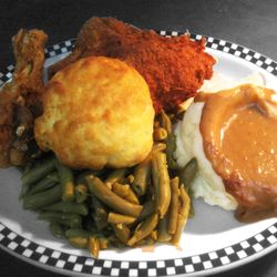 Fried Chicken with Green Beans, Mashed Potatoes and Gravy and a Buttermilk Biscuit