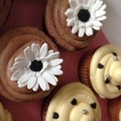 Chocolate and vanilla gluten free cupcakes.